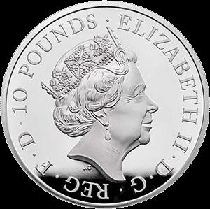 Великобритания монета 10 фунтов Год Свиньи 2019, серебро, аверс