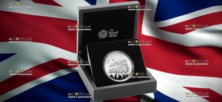 Великобритания монета 10 фунтов Год Свиньи 2019, серебро, подарочная упаковка