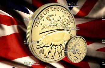 Великобритания монета 10 фунтов Год Свиньи 2019, золото