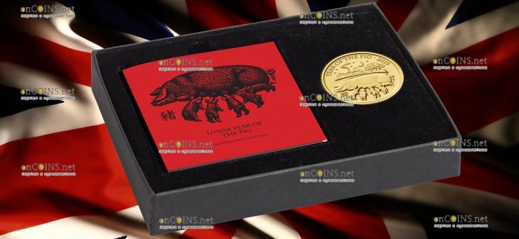 Великобритания монета 10 фунтов Год Свиньи 2019, золото, подарочная упаковка