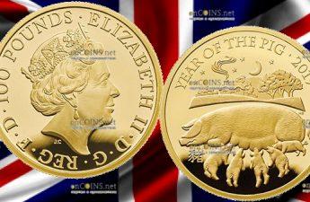 Великобритания монета 100 фунтов Год Свиньи 2019, золото