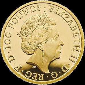 Великобритания монета 100 фунтов Год Свиньи 2019, золото, аверс