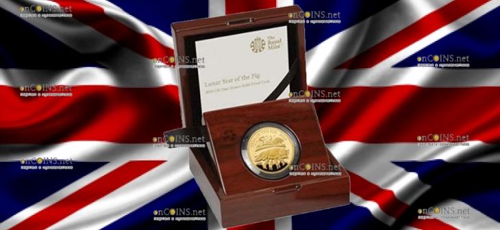 Великобритания монета 100 фунтов Год Свиньи 2019, золото, подарочная упаковка