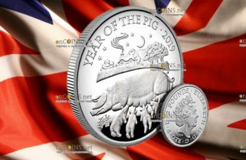 Великобритания монета 2 фунта Год Свиньи 2019