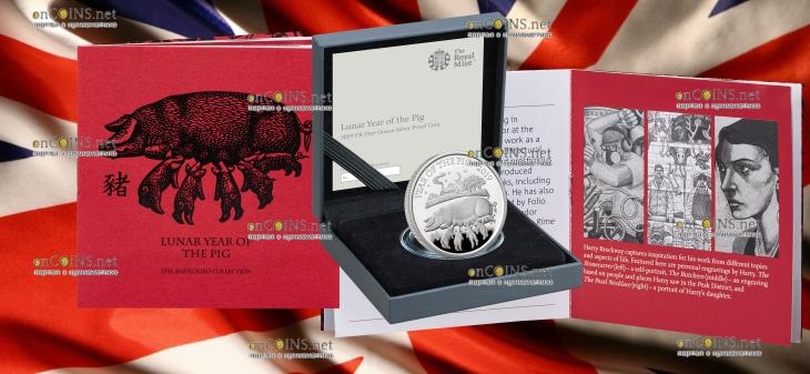 Великобритания монета 2 фунта Год Свиньи 2019, подарочная упаковка