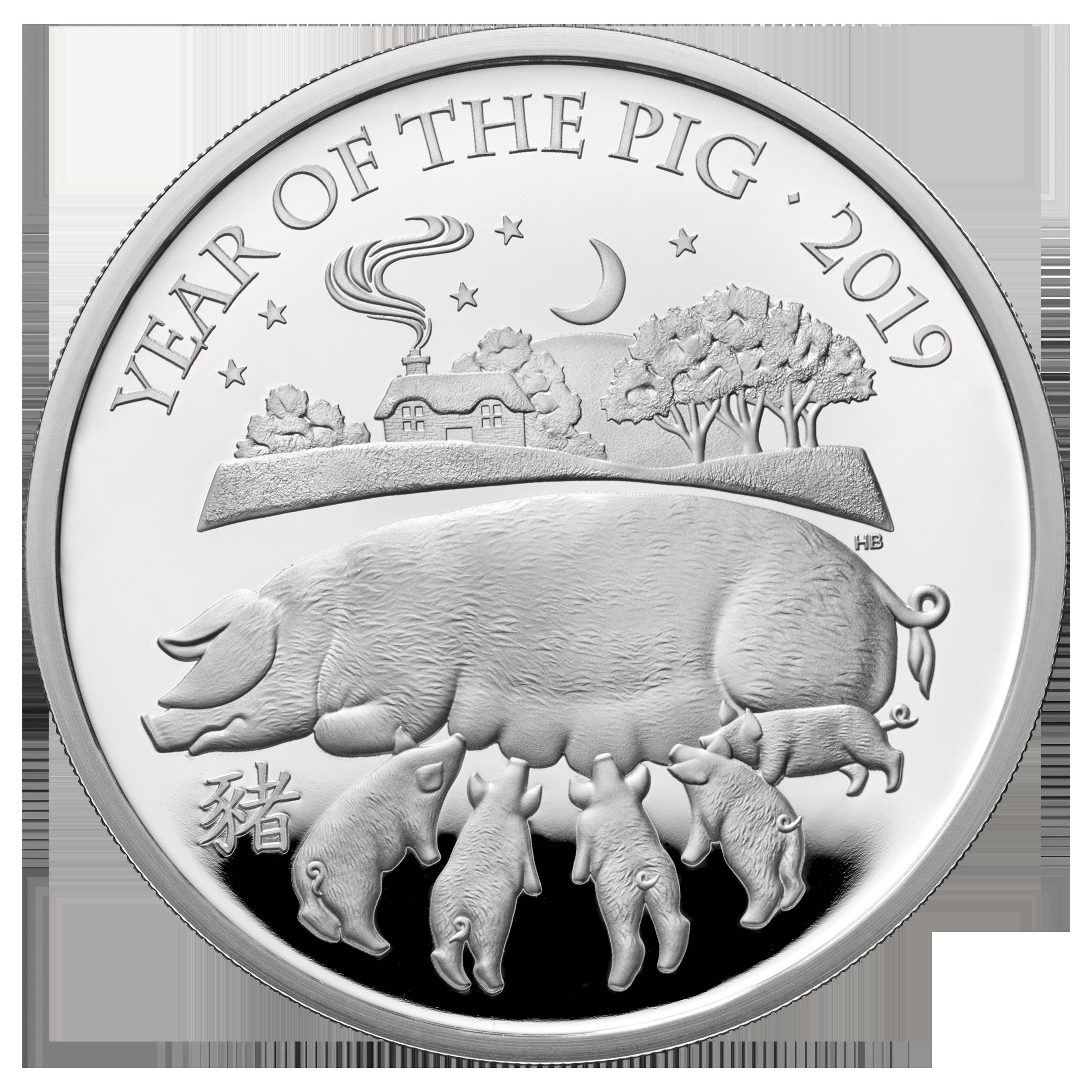 Великобритания монета 2 фунта Год Свиньи 2019, реверс