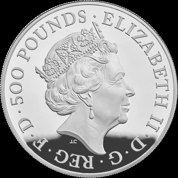 Великобритания монета 500 фунтов Год Свиньи 2019, серебро, аверс