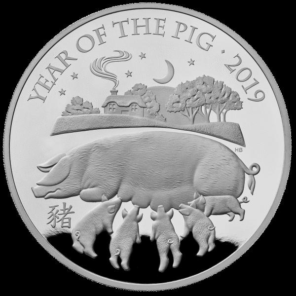 Великобритания монета 500 фунтов Год Свиньи 2019, серебро, реверс