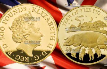 Великобритания монета 500 фунтов Год Свиньи 2019, золото