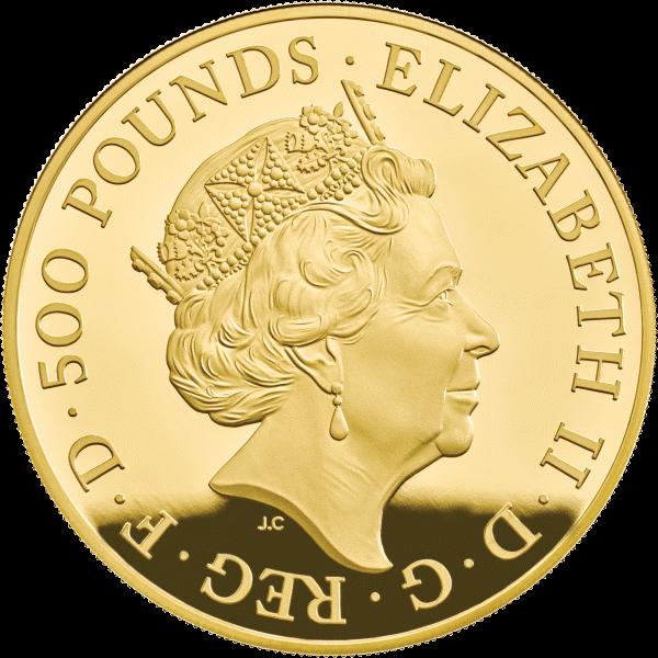 Великобритания монета 500 фунтов Год Свиньи 2019, золото, аверс