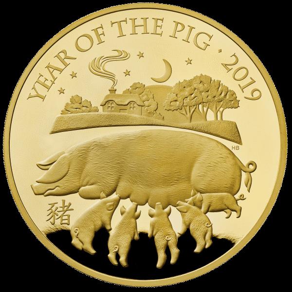 Великобритания монета 500 фунтов Год Свиньи 2019, золото, реверс