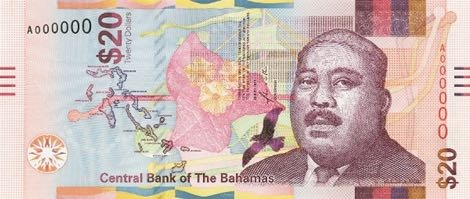 Багамские Острова банкнота 20 долларов 2018, лицевая сторона