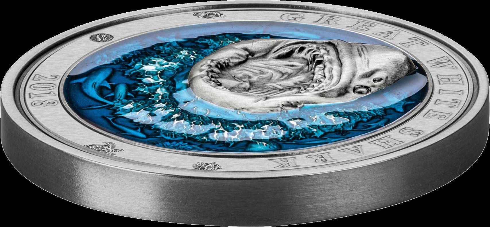 Барбадос 3-D монета 5 долларов Большая белая акула, 3-D