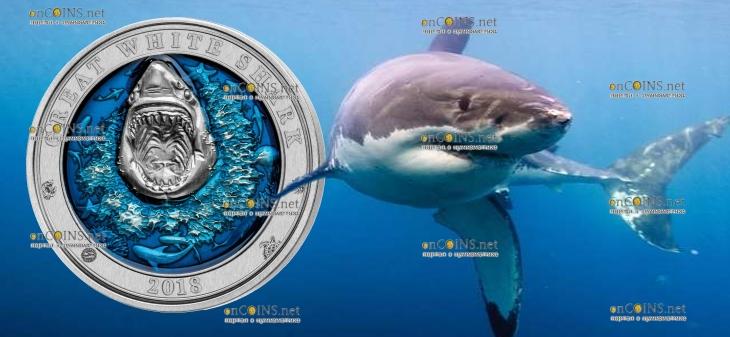 Барбадос 3-D монета 5 долларов Большая белая акула