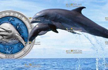 Барбадос 3-D монета 5 долларов Дельфин