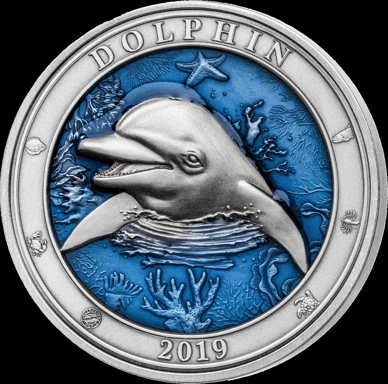 Барбадос 3-D монета 5 долларов Дельфин, реверс