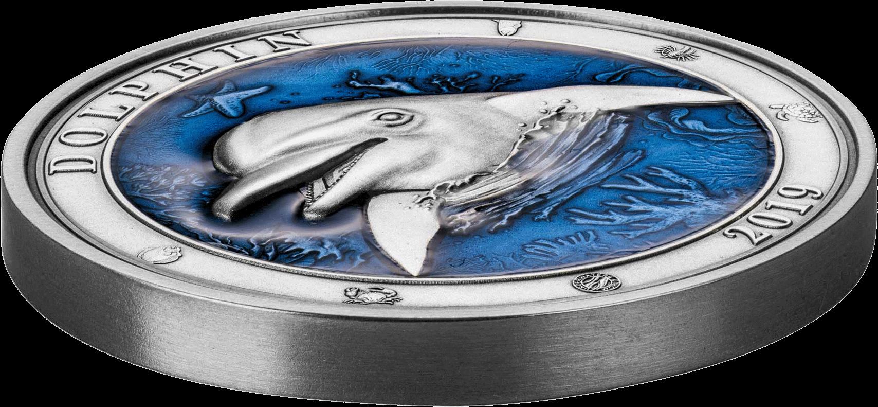 Барбадос 3-D монета 5 долларов Дельфин, вид сбоку