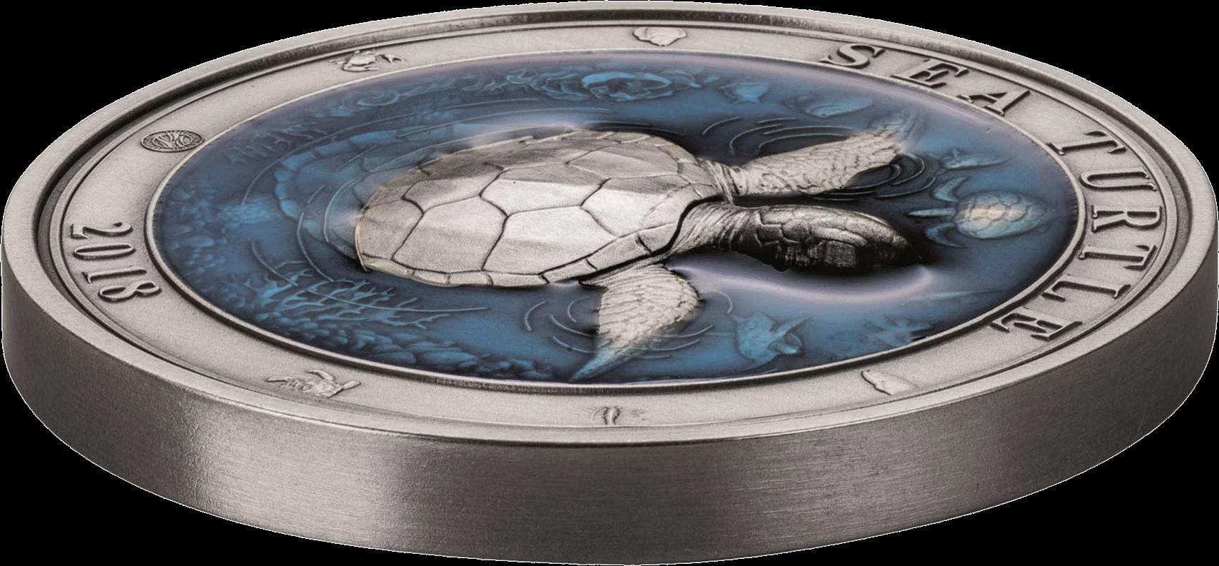 Барбадос 3-D монета 5 долларов Морская черепаха, 3-D
