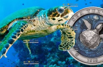 Барбадос 3-D монета 5 долларов Морская Черепаха