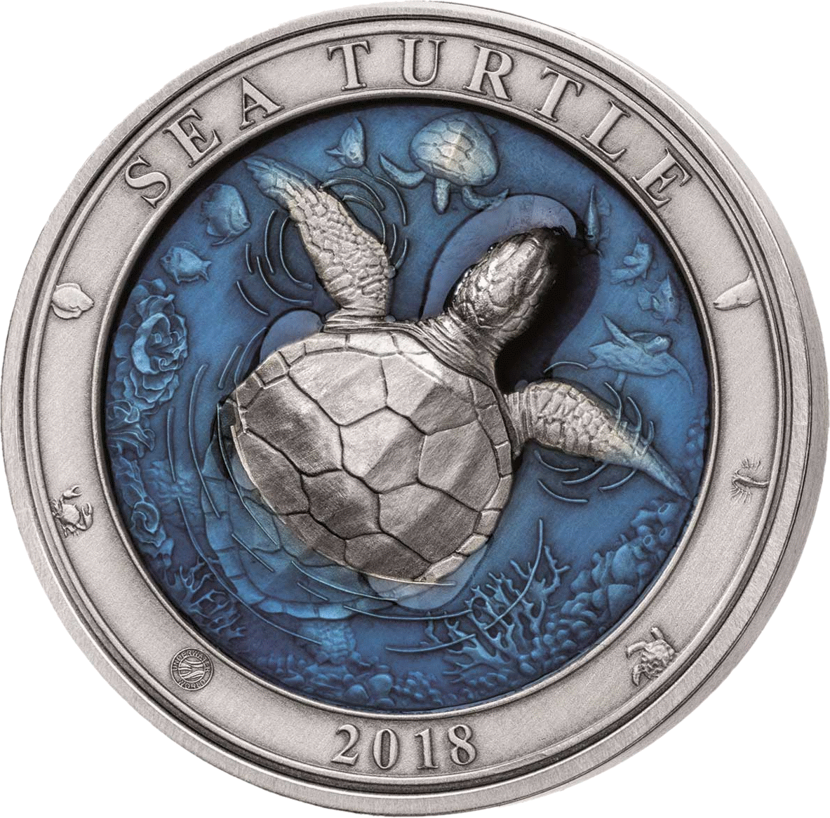 Барбадос 3-D монета 5 долларов Морская черепаха, реверс