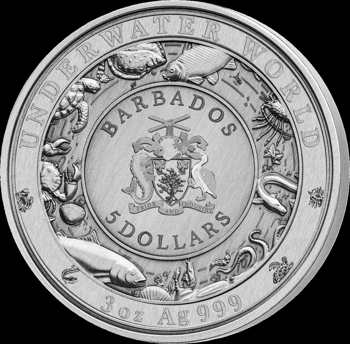 Барбадос 3-D монета в серии Подводный мир, 2019 год, аверс