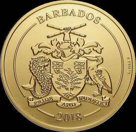 Барбадос монета 100 долларов ром Harewood 1780 года, аверс