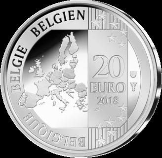 Бельгия монета 20 евро 2018, аверс