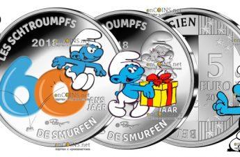 Бельгия монету 5 евро Смурфы - 60 лет со дня создания