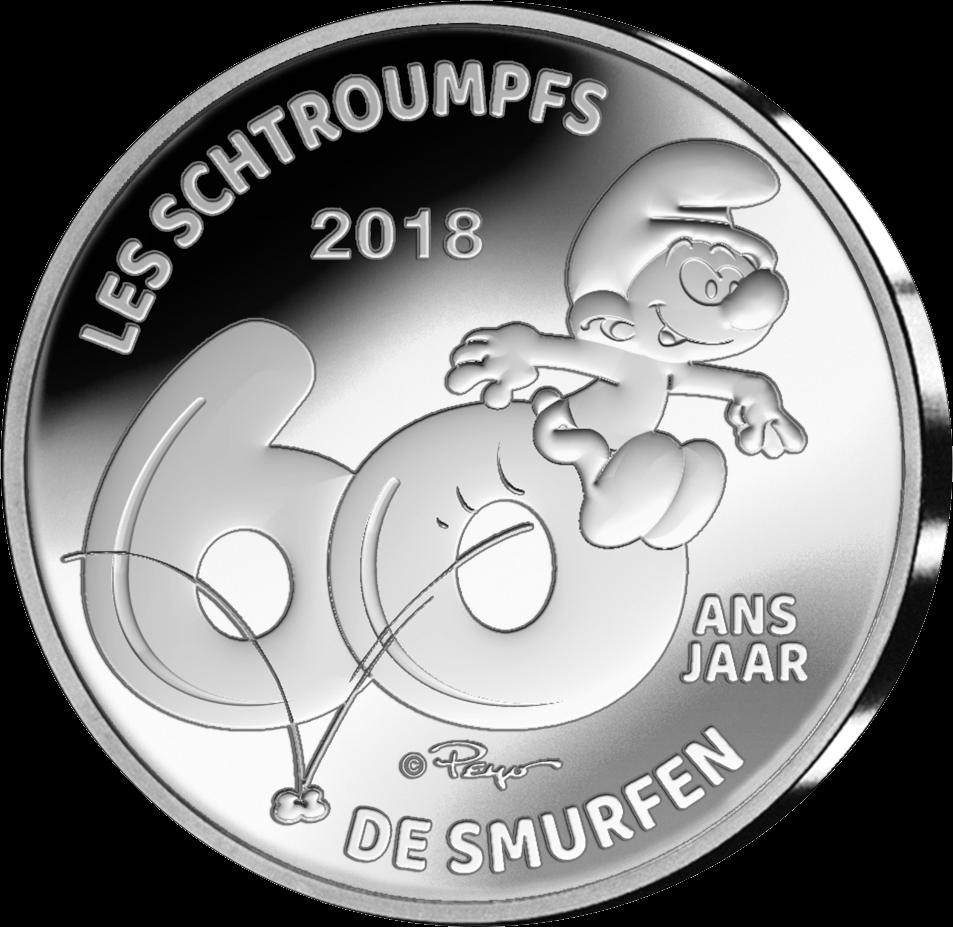 Бельгия монету 5 евро Смурфы - 60 лет со дня создания, реверс