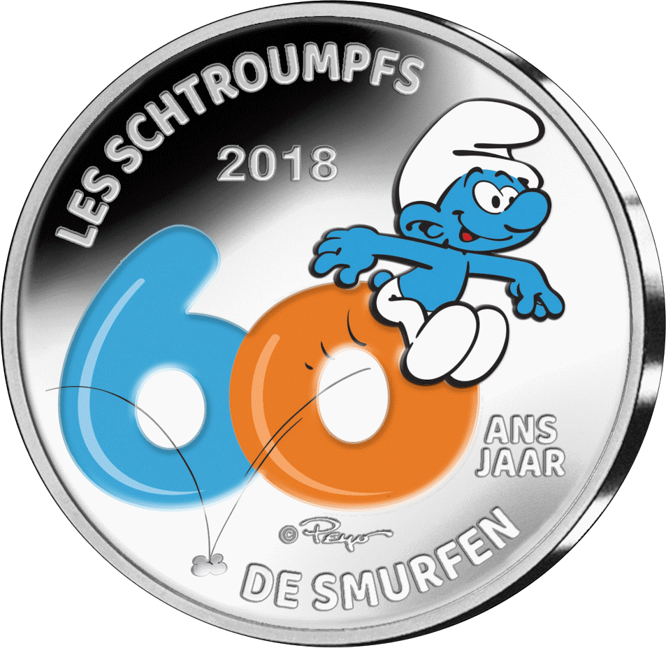 Бельгия монету 5 евро Смурфы - 60 лет со дня создания, цвет, реверс