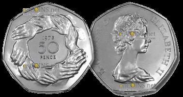 Британия 1973 год монета 50 пенсов В память о вхождении страны в Европейское Экономическое Сообщество