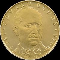 Чехия монета 20 крон Эдвард Бенеш, реверс