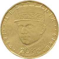 Чехия монета 20 крон Милан Растислав Штефаник, реверс