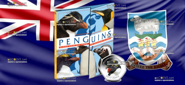 Фолклендские острова монета 50 пенсов Хохлатый пингвин, подарочная упаковка