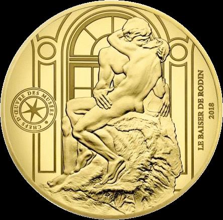 Франция монета 50 евро Поцелуй Родена, реверс