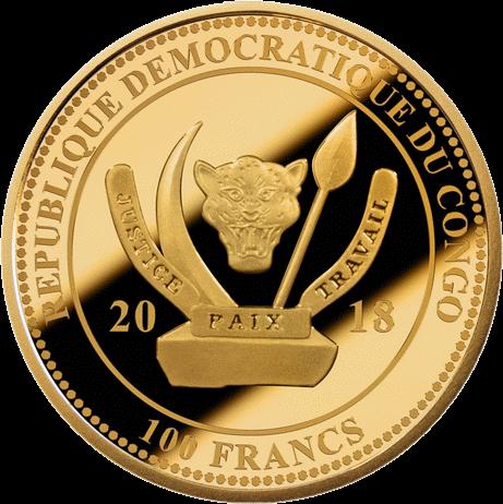 Конго монета 100 франков коньяк Cognac Gautier 1762 года, аверс