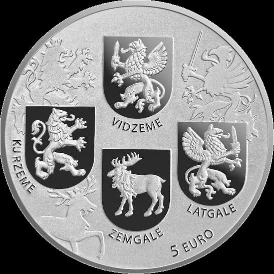 Латвия монета 5 евро Гербовая монета, реверс