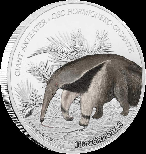 Никарагуа монета 100 кордоба Муравьед, реверс