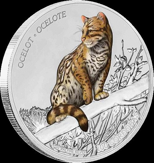 Никарагуа монета 100 кордоба Оцелот, реверс