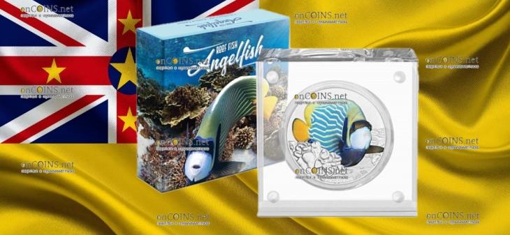 Ниуэ монета 2 доллара Императорская рыба-ангел, подарочная упаковка