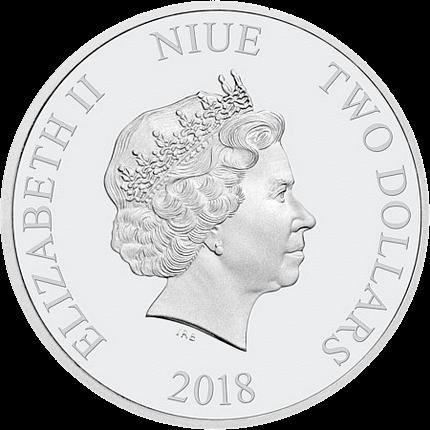 Ниуэ монета 2 доллара Рифовые рыбы, аверс
