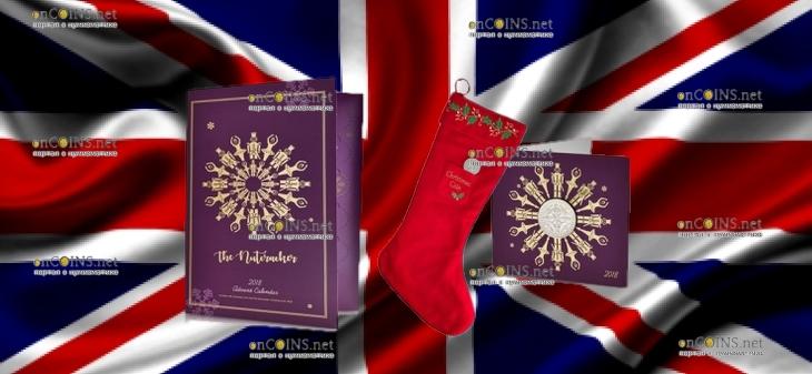 Соединенное Королевство монета 5 фунтов Щелкунчик (Рождество 2018), подарочная упаковка