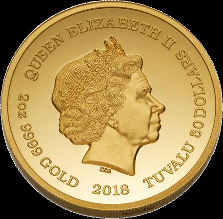 Тувалу монета 50 долларов виски Old Vatted Glenlivet 1862 года, аверс