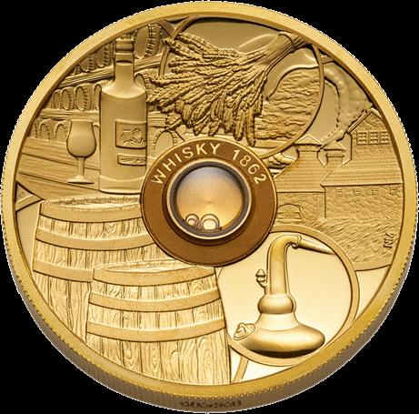 Тувалу монета 50 долларов виски Old Vatted Glenlivet 1862 года, реверс