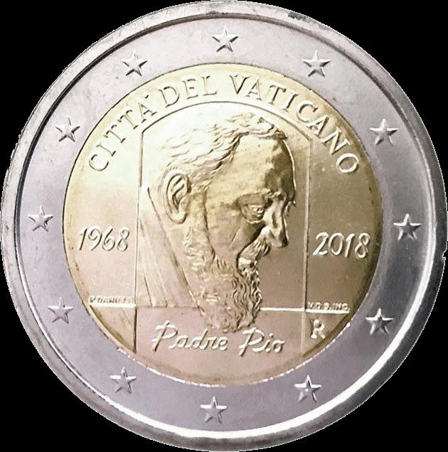 Ватикан монета 2 евро 50-летие со дня смерти Падре Пио, реверс