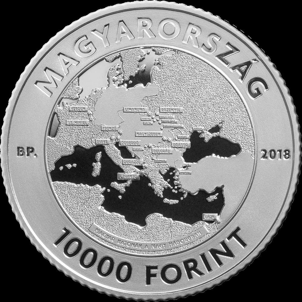 Венгрия монета 10000 форинтов 100 лет окончания Первой мировой войны, аверс