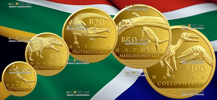 ЮАР 5 монет серии Натура 2018 год Палеонтология - Динозавры