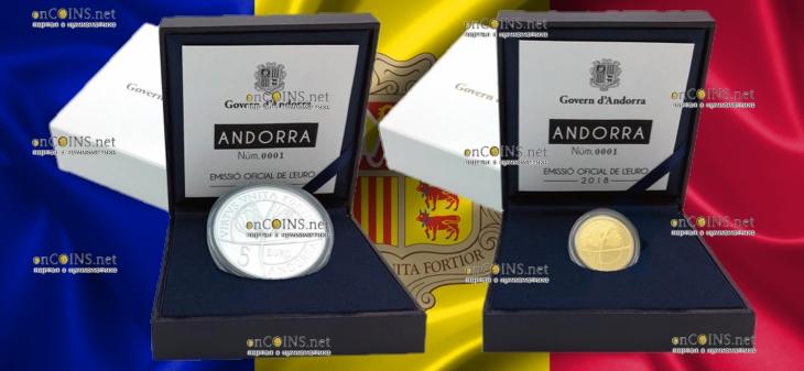 Андорра памятные монеты 25 лет Конституции, подарочная упаковка
