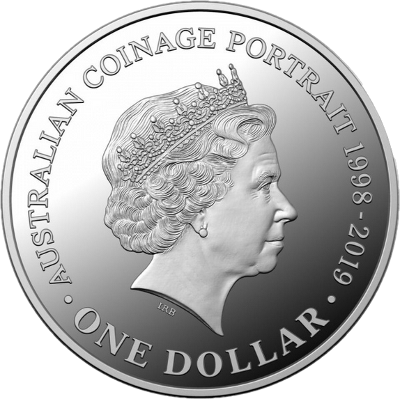 Австралия монета 1 доллар Портрет на австралийских монетах серебро 2018, реверс
