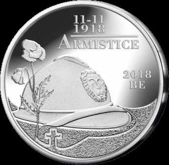 Бельгия монета 5 евро 100-летие перемирия, реверс